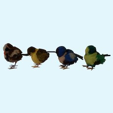 Four Vintage German Steiff Wool Birds Sparrows no ID