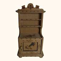 Vintage German Dollhouse Buffet Cabinet Burn Painting