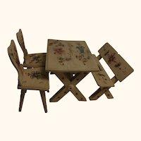 Vintage German Dollhouse Table Pew Chair Burn Painting