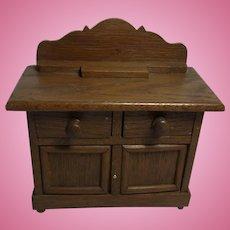 German Art Deco Dollhouse Oak Wood Sideboard