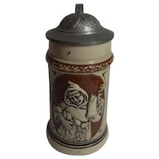 German Art Nouveau Souvenir 1/8 L.Beer Stein Greetings from Munich