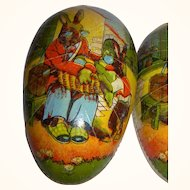 Vintage ca. 1920 Cardboard Easter Egg German Candy Container Bunny Family