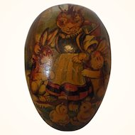Vintage ca. 1920 Cardboard Easter Egg German Candy Container Bunny and Chick