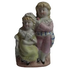 Vintage German Bisque 2 Girl Table Vase