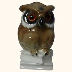 Owl on Book Perfume Lamp Porcelain Night Light Vintage German