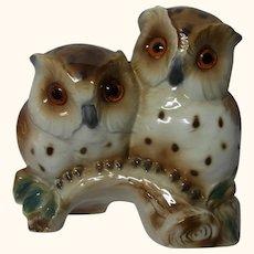 Two Owl Perfume Lamp Porcelain Night Light Vintage German