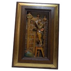 Vintage Italy Carved Wood Picture Anri Carl Spitzweg Bookworm