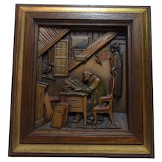 Vintage Italy Carved Wood Picture Anri Carl Spitzweg The Visit