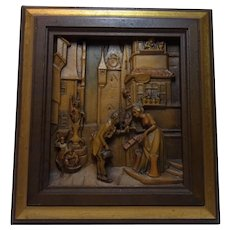 Vintage Italy Carved Wood Picture Anri Carl Spitzweg Wedding Man