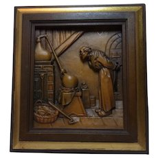 Vintage Italy Carved Wood Picture Anri Carl Spitzweg Alchemist