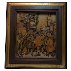 Vintage Italy Carved Wood Picture Anri Carl Spitzweg Serenade
