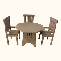 German Art Deco Doll House Octagonal Table and Three Chair