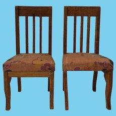 German Doll House Oak Wood Two Chairs