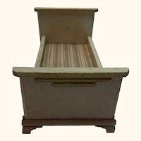 Doll House Wood Bed Old Vintage German