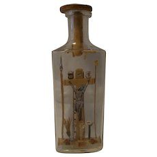 Antique German Crucifixion Scene in a Bottle Folk Art  Monastery Work