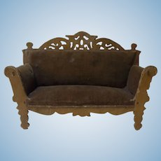 Dollhouse Fretwork Sofa Old Vintage German Folk Art