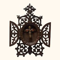 Black Forest Table Frame with Cross German Antique