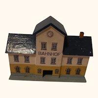 Vintage German Erzgebirge Wood Toy House Railway Station