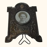 Standing France  Picture Photo Frame Rose and Cherub Angel