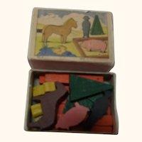 Wood Toy in a Matchbox Vintage Western German