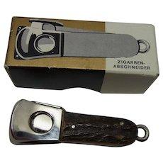 Pocket Cigar Cutter Charms Deer Antler Handle In Box Vintage German