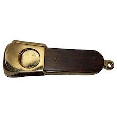 Pocket Cigar Cutter Charms Gilt Teak Mid Century German
