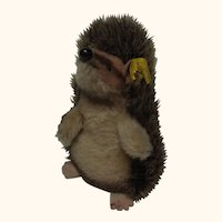 Vintage German Steiff Hedgehog with Button & Banner