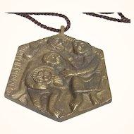Mid Century E. Weinert Christians Pendant Bronze