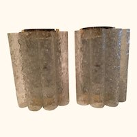 Pair of 60's Ice Glass Tubes and Brass Sconces by Doria of Germany