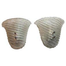 Pair of Italian Murano Glass Striped Ice Glass Sconces