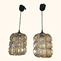 Pair of German Limburg Style Glass Pendant Lamps