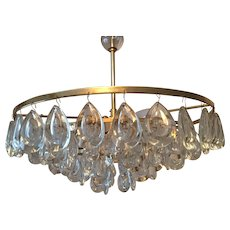Five-Tiered crystal Glass Drop Chandelier by Palwa of Germany 1970s