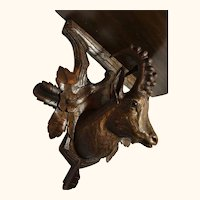 Hand Carved from the Swiss Black Forest Regions Ibex Wall Decoration Shelf