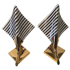 Pair of Gilt Metal and Striped Glass Sconces Murano Style