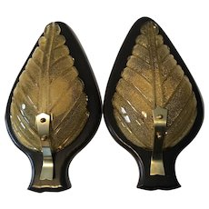 Pair of Murano Glass Sconces On Ebonized Wood in style of Barovier e Toso