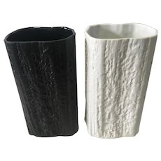 Black and a White Driftwood Texture Rosenthal Vases by Martin Freyer