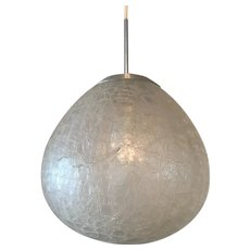 Crackle Glass Drop Shaped Pendant Lamp by Doria from the 1960s