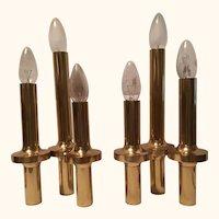 Pair of Italian Three-Light Brass Table Lamps Gaetano Sciolari Style