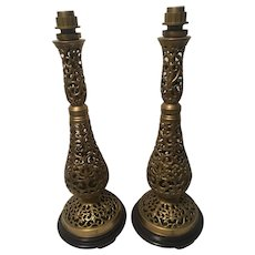Pair of Large, Brass on Round Wood Base, Table Lamps, 1970s