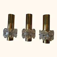 Three Round Brass and Glass Pendant Lamp