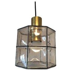 Iron and Air Bubble Glass Pendant Lamp by Glashütte Limburg, 1960s