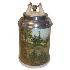 Vintage German Lidded Beer Stein Kaiser Antler and Deer Scene
