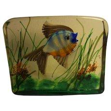 Mid Century Murano Glass Aquarium One Fish in Gino Cenedese Style