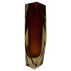 Mid Century Italy 50's Murano Mandruzzato Faceted  Glass Vase