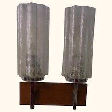 Single Sconce Frozen Glass Teak Chrome By Doria Mid Century German