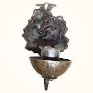 Antique German Hand Made Iron Wall Candle Holder Flower