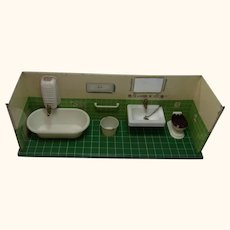 Bathroom Tin and Plastic Vintage German Dollhouse