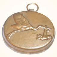 Vintage German Copper Doll House Mold Stork with Baby