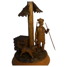 Antique ca.1910 German Black Forest Carved Wood Hunting Scene Desk Lamp