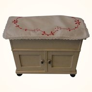 German Doll or Large Scale Dollhouse Kitchen Dish Wash Sideboard Sink ca. 1910